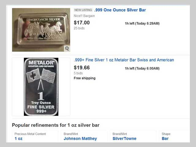 example of a silver bar listing
